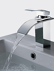 cheap -Stainless Steel Waterfall Bathtub Faucet/Bathroom Sink Faucet Chrome Vessel Single Handle One HoleBath Taps