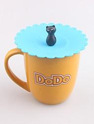 Недорогие -мультфильм кошка в форме силиконовой кружки крышка крышка водонепроницаемая крышка для напитков крышка