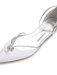 cheap -Women's Wedding Shoes Flat Heel Rhinestone / Crystal / Bowknot Satin Comfort / D'Orsay & Two-Piece Spring / Summer White / Ivory / Buckle / EU40