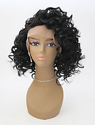 cheap -Synthetic Lace Front Wig Curly Curly Lace Front Wig Short Black#1B Synthetic Hair Women's Natural Hairline Black