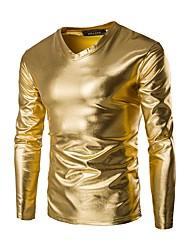 Недорогие -Муж. Футболка Хлопок, V-образный вырез Тонкие Классический Однотонный Золотой / Длинный рукав
