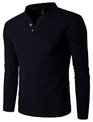 cheap -Men's Daily Chinoiserie Linen Slim Shirt - Solid Colored Basic Light Blue / Long Sleeve / Spring / Summer