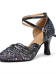 cheap -Women's Modern Shoes / Ballroom Shoes Sparkling Glitter / Leatherette S-hook Clasp Sandal / Heel Customized Heel Customizable Dance Shoes Black / Professional / EU40