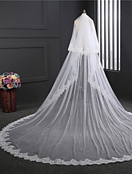cheap -Two-tier Double Layered Wedding Veil Cathedral Veils with Embroidery Tulle / Classic