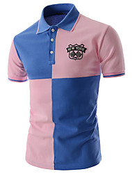cheap -Men's Daily Work Street chic Cotton Slim Polo - Color Block Patchwork Shirt Collar White / Short Sleeve / Summer