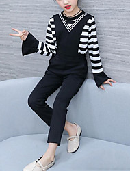 cheap -Kids Girls' Casual Daily Striped Patchwork Long Sleeve Regular Clothing Set Black