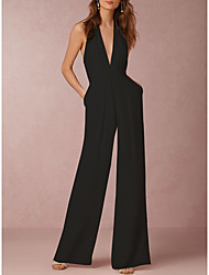 cheap -Women's Sexy Daily Halter Neck Wide Leg Black Red Wine Jumpsuit Solid Colored Backless