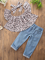cheap -Toddler Girls' Casual Daily Going out Print Leopard Hole Leopard Print Printing Sleeveless Regular Regular Cotton Clothing Set Gray / Cute