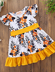 cheap -Toddler Girls' Simple Casual Daily Going out Floral Print Print Short Sleeve Dress Yellow