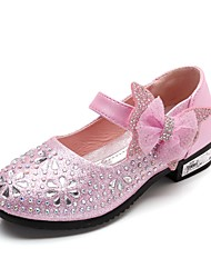 cheap -Girls' Comfort / Flower Girl Shoes / Children's Day Leatherette Heels Little Kids(4-7ys) / Big Kids(7years +) Rhinestone / Bowknot / Sparkling Glitter Pink / Gold / Blue Spring / Wedding / Magic Tape