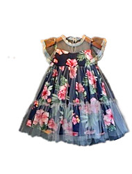 cheap -Toddler Girls' Simple / Vintage / Basic Daily / Holiday Floral / Print Layered / Print Short Sleeve Cotton / Acrylic Dress Gray 2-3 Years(100cm)