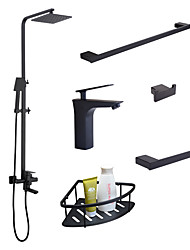 cheap -Faucet Set - Rain Shower / Widespread / Handshower Included Black Wall Installation Single Handle One HoleBath Taps