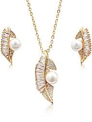 cheap -Women's Cubic Zirconia Pearl Jewelry Set Stud Earrings Drop Earrings Leaf Ladies Fashion Elegant Pearl Zircon Silver Plated Earrings Jewelry Gold / Silver For Wedding Party / Pendant Necklace