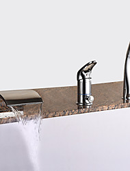 cheap -Bathtub Faucet - Modern Chrome Roman Tub Ceramic Valve Bath Shower Mixer Taps / Brass / Single Handle Three Holes