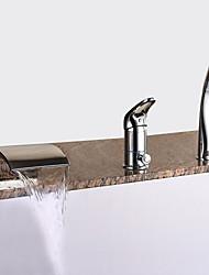 abordables -Robinet de baignoire - Moderne Chrome Baignoire romaine Soupape céramique Bath Shower Mixer Taps / Laiton / Mitigeur Trois trous