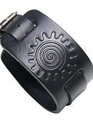 Недорогие -Муж. Кожаные браслеты геометрический Камни Steampunk Кожа Браслет Ювелирные изделия Черный / Коричневый Назначение Для улицы Для клуба
