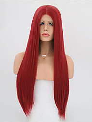cheap -Synthetic Lace Front Wig Straight Straight Lace Front Wig Long Red Synthetic Hair Women's Red