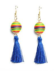 cheap -Women's Drop Earrings Tassel Ball Ladies Ethnic Fashion Earrings Jewelry Fuchsia / Green / Royal Blue For Daily Evening Party