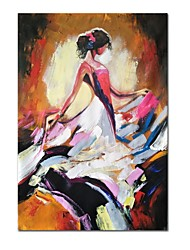 cheap -Oil Painting Hand Painted Abstract People Comtemporary Modern Stretched Canvas With Stretched Frame