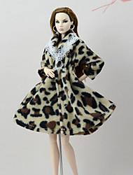 abordables -Tenue de poupée Manteau de poupée Manteaux Pour Barbie Léopard Jaune Clair Blanc + Rose. Blanc chaud Flanelle Toison Polyester Manteau Pour Fille de Jouets DIY
