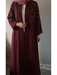 cheap -Women's Daily Spring Maxi Coat, Solid Colored Round Neck Long Sleeve Silk Black / Wine / Khaki