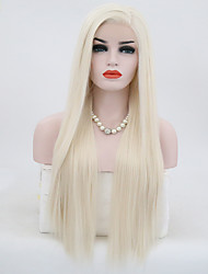 cheap -Synthetic Lace Front Wig Straight Straight Lace Front Wig Blonde Long Light golden Synthetic Hair Women's Natural Hairline Blonde