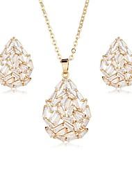 cheap -Women's Cubic Zirconia Stud Earrings Pendant Necklace Drop Ladies Sweet Elegant Zircon Earrings Jewelry Gold / Silver For Wedding Party
