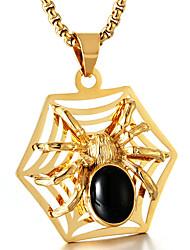 Недорогие -Муж. Синтетический рубин Ожерелья с подвесками Пауки Мода Титановая сталь Титан Сталь Золотой Серебряный Ожерелье Бижутерия Назначение Повседневные Для улицы