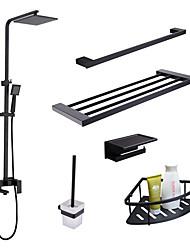 cheap -Faucet Set - Rain Shower / Widespread / Handshower Included Black Wall Installation Single Handle Three HolesBath Taps