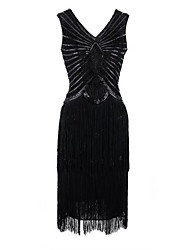 cheap -The Great Gatsby Charleston Embossed 1920s Roaring Twenties Flapper Dress Dress Women's Sequins Costume Black / Red Vintage Cosplay Party Prom Sleeveless Short Length