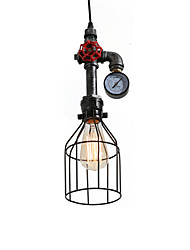 cheap -1-Light Industrial Retro Vintage Style Mini Water Pipe Suspension Pendant Light Lampe Chandelier With Iron Cage In Painting Finish