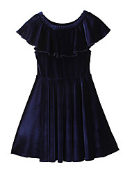 cheap -Toddler Girls' Simple Boho Daily Going out Solid Colored Modern Style Fairytale Theme Stylish Short Sleeve Dress Royal Blue / Cotton