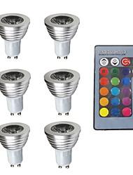 cheap -6pcs 3W 280lm GU10 RGB LED Spotlight Decorative Remote-Controlled 200-240V