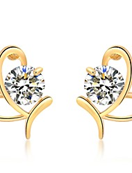 cheap -Women's Diamond Cubic Zirconia Stud Earrings Heart Ladies Classic Fashion Zircon Earrings Jewelry Gold / Silver For Daily Going out