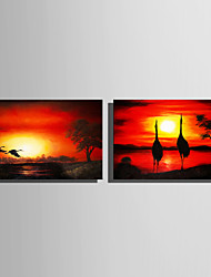cheap -Stretched Canvas Prints Modern, Two Panels Canvas Horizontal Vertical Print Wall Decor Home Decoration