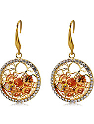 cheap -Women's Orange Crystal Drop Earrings Hollow Out Heart Ball Stylish Unique Design Romantic Gold Plated Imitation Diamond Earrings Jewelry Gold For Daily Formal 2pcs