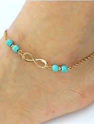 cheap -Anklet feet jewelry Ladies Bohemian Fashion Women's Body Jewelry For Date Bikini Double Turquoise Alloy Infinity Gold Silver
