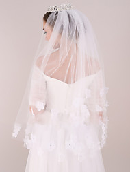 cheap -Two-tier Modern Style / Wedding / Simple Style Wedding Veil Elbow Veils with Fringe / Splicing Tulle / Angel cut / Waterfall