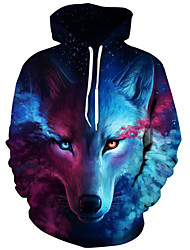 cheap -Men's Plus Size Active Long Sleeve Loose Hoodie & Sweatshirt - 3D Print Wolf, Modern Style Hooded Blue XXL / Fall / Winter