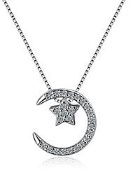 cheap -Women's Cubic Zirconia Pendant Necklace Moon Crescent Moon Ladies Korean Sweet Fashion Copper Alloy Silver 45 cm Necklace Jewelry For Daily Prom Promise