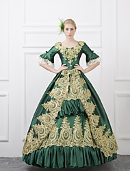 cheap -Rococo Victorian Renaissance 18th Century Dress Outfits Party Costume Masquerade Women's Lace Costume Red / Green / Blue Vintage Cosplay Half Sleeve 3/4 Length Sleeve Floor Length Ball Gown Plus Size