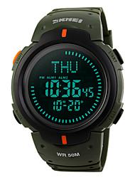 Недорогие -SKMEI Муж. Спортивные часы Армейские часы Цифровой Pезина Зеленый 50 m Защита от влаги Будильник Календарь Цифровой На каждый день - Зеленый / Компас / Хронометр