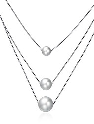 cheap -Women's Pearl Pendant Necklace Geometrical Floating Mother Daughter Ladies Fashion Grandmother Sterling Silver Silver Necklace Jewelry One-piece Suit For Gift Daily