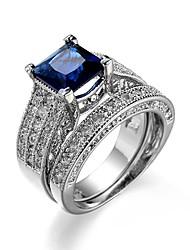 cheap -Women's Band Ring Cubic Zirconia 2pcs Dark Blue Zircon Silver Plated Geometric Classic Vintage European Wedding Daily Jewelry Crown