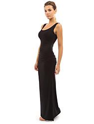 cheap -Women's Party Basic Maxi Slim Sheath Dress - Solid Colored High Waist Spring Cotton Light Blue Khaki Royal Blue L XL XXL