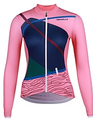 cheap -SPAKCT Women's Long Sleeve Cycling Jersey Winter Elastane Pink Animal Bike Jersey Mountain Bike MTB Road Bike Cycling Quick Dry Sports Clothing Apparel / Stretchy / Advanced / Expert / Advanced
