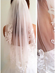 cheap -One-tier Modern Style / Wedding / Simple Style Wedding Veil Elbow Veils with Fringe / Splicing Lace / Tulle / Angel cut / Waterfall