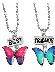 cheap -Women's Pendant Necklace Layered Flower Butterfly Best Friends Friendship Natural Multi Layer Sister Alloy Rainbow Necklace Jewelry Two-piece Suit For Gift Going out