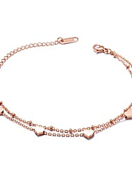 cheap -Women's Charm Bracelet Heart Ladies Basic Steel Stainless Bracelet Jewelry Rose Gold For Ceremony Holiday
