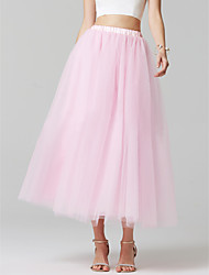 cheap -A-Line Tea Length Tulle Bridesmaid Dress with by Lightinthebox